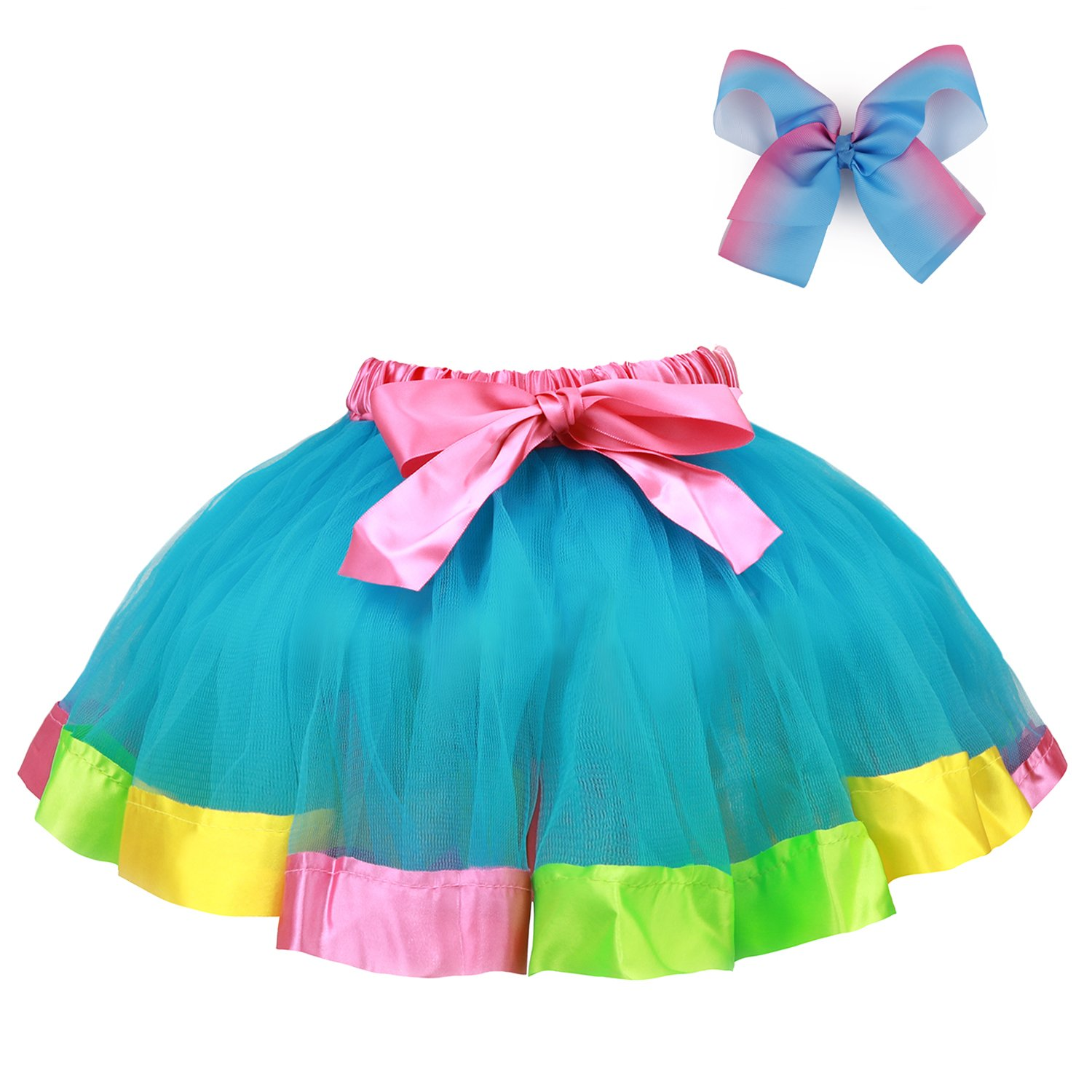 RunRRIn Tutu Skirt, Layered Ballet Tulle Rainbow Tutus for Little Girl Dress up with Colorful Hair Bows(Sky Blue-L)