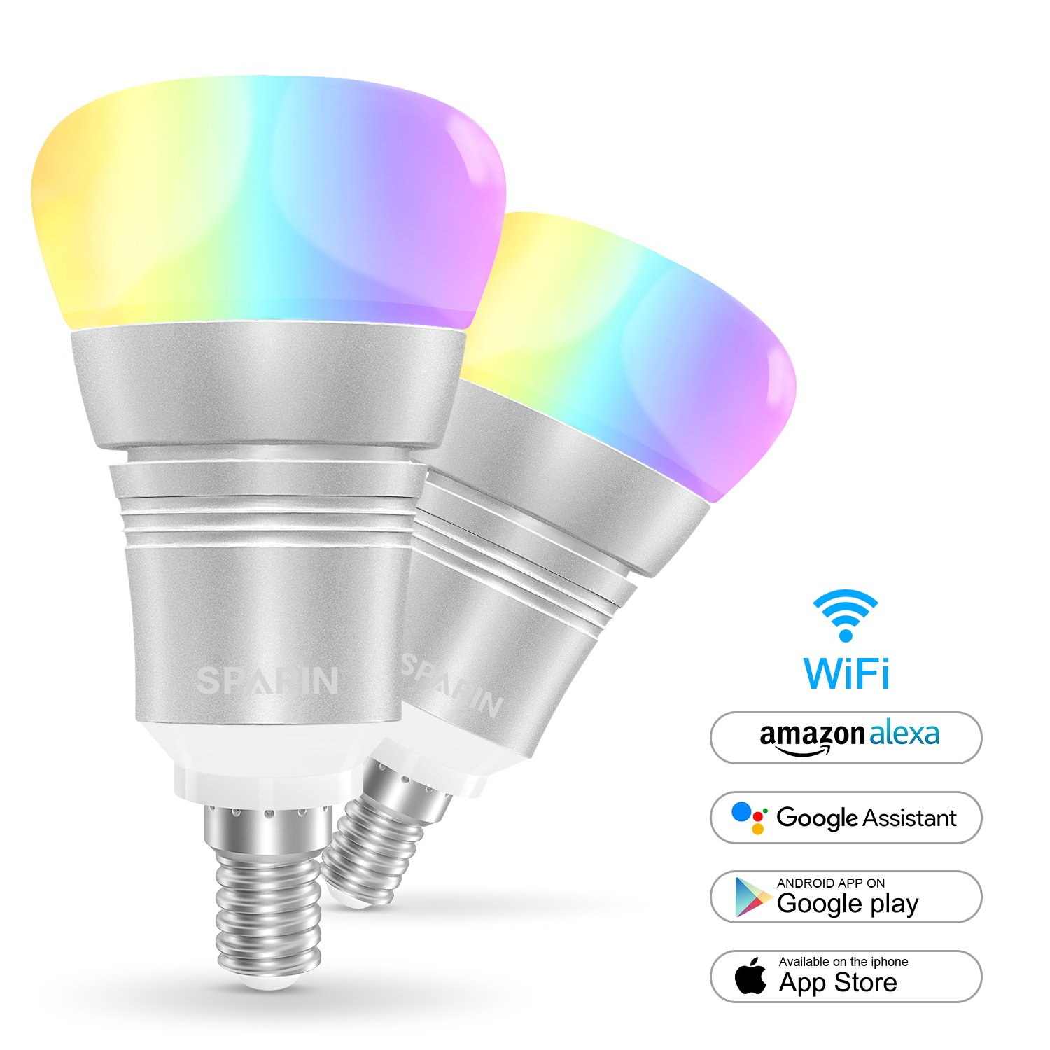 2 Pack Smart Bulb E14 Sparin Color Changing Led Light Build A Circuit Science The Lab Small Edison Screw Candle Bulbs Mood That Compatible With Alexa Google