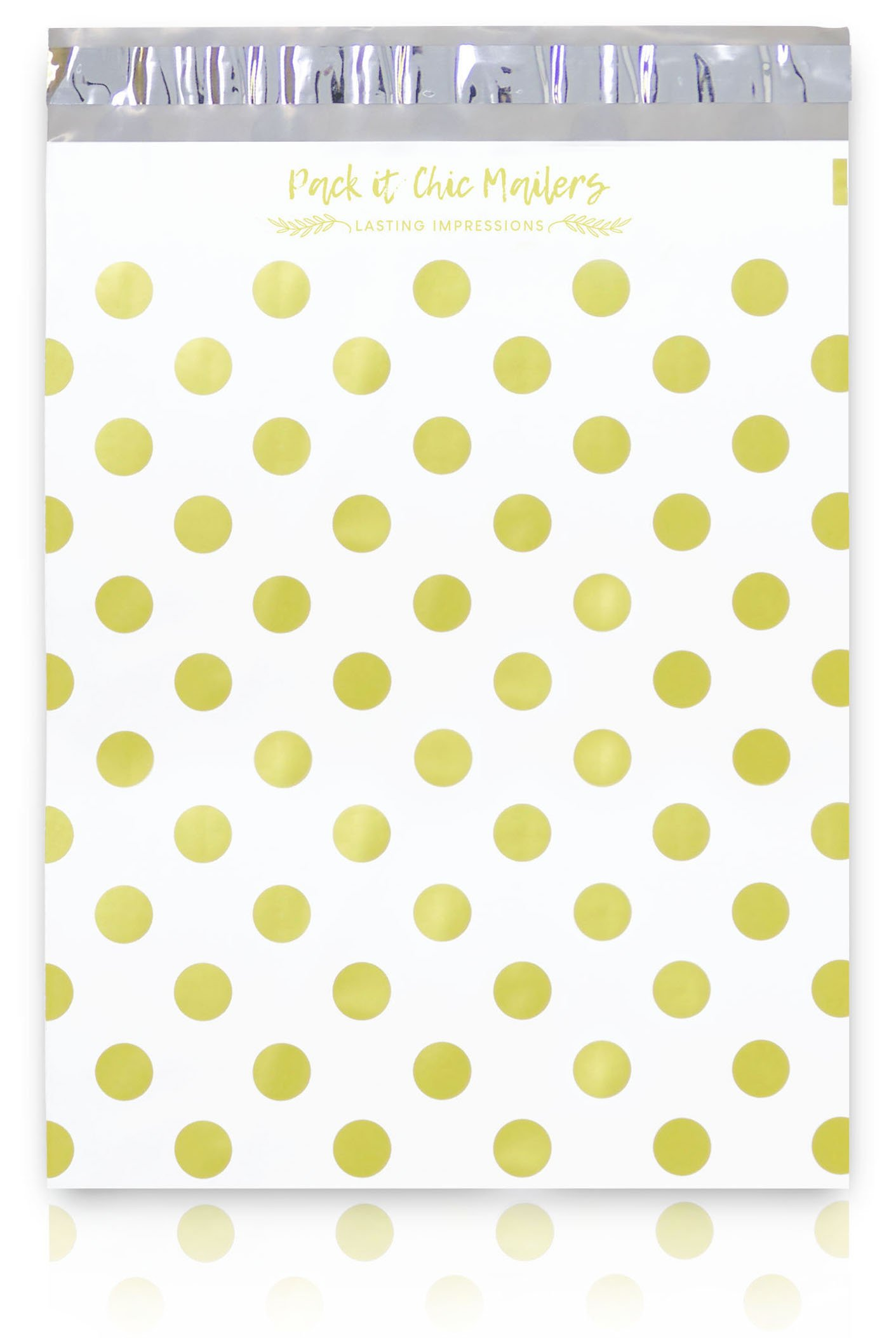 """[ 100-10"""" X 13"""" ] Gold Polka Dots Pattern Custom Poly Mailer Envelope Shipping Bags, Tear Proof & Powerful Self Seal Adhesive Postal Bags (Other Designs Available) - Pack It Chic"""