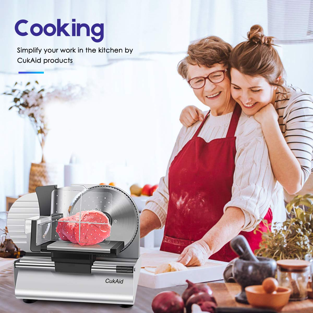 CukAid Electric Meat Slicer Machine, Deli Cheese Bread Food Slicer, Dishwasher Safe, Removable Stainless Steel Blade & Food Carriage and Pusher, 7/8 Inch Adjustable Thickness, 180W, Commercial & Home Use by CukAid (Image #6)