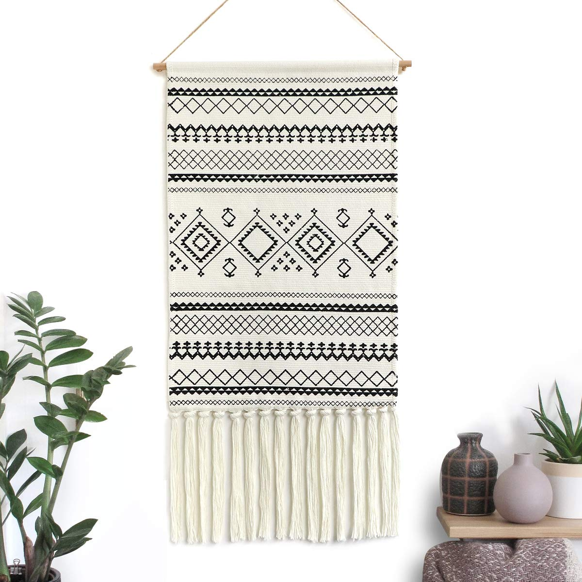 "Dremisland Macrame Woven Wall Hanging Tapestry- Boho Chic Bohemian Home Decor Geometric Art Decor Boho Backdrop - Beautiful Apartment Dorm Room Door Decoration, 17.7"" W x 32"" L (Black Geometric)"