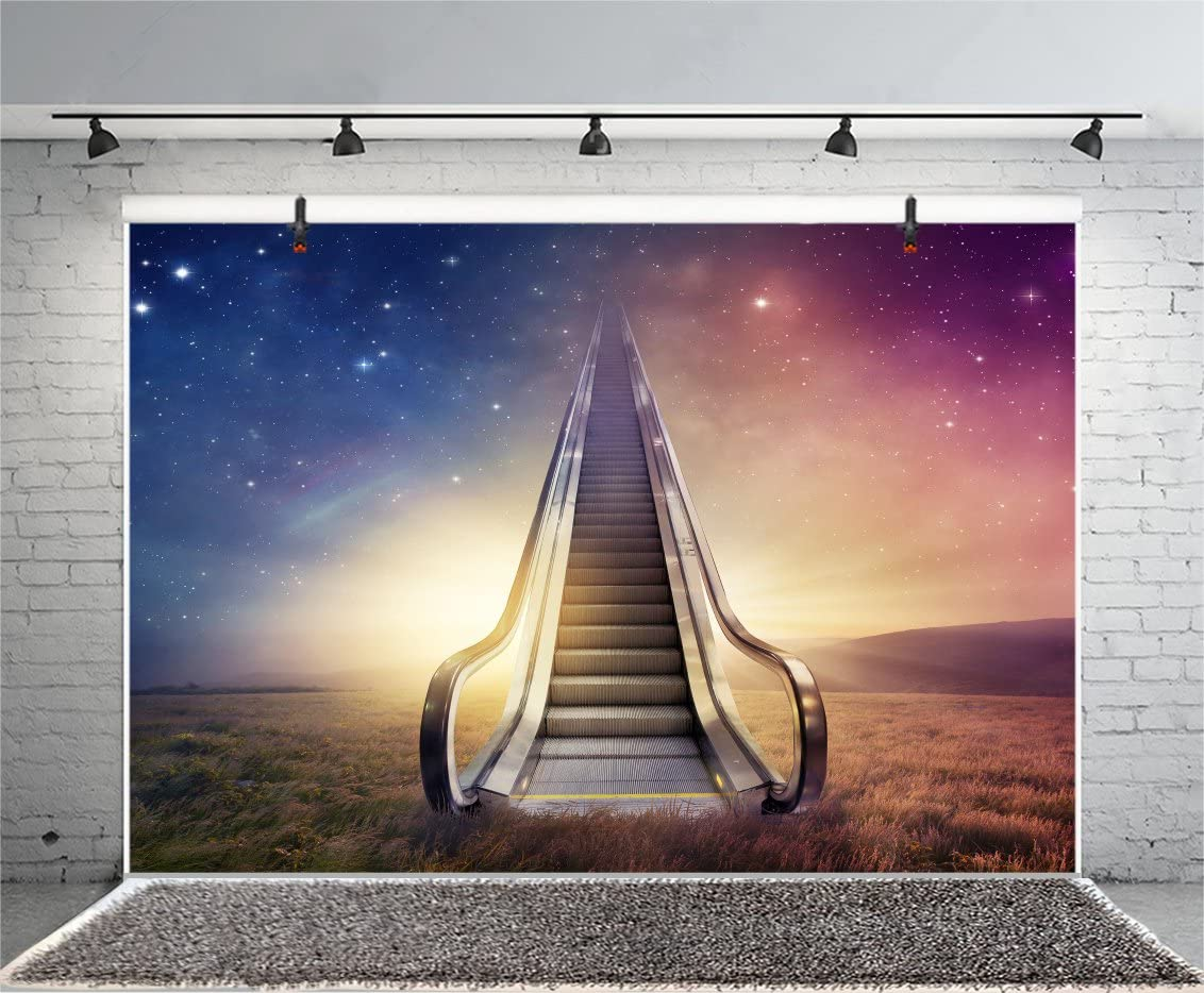 LFEEY 5x3ft Abstract Ladder to The Sky Photo Backdrop Beautiful Night Starry Stars Creative Elevator Stairs Photography Background Photo Studio Props