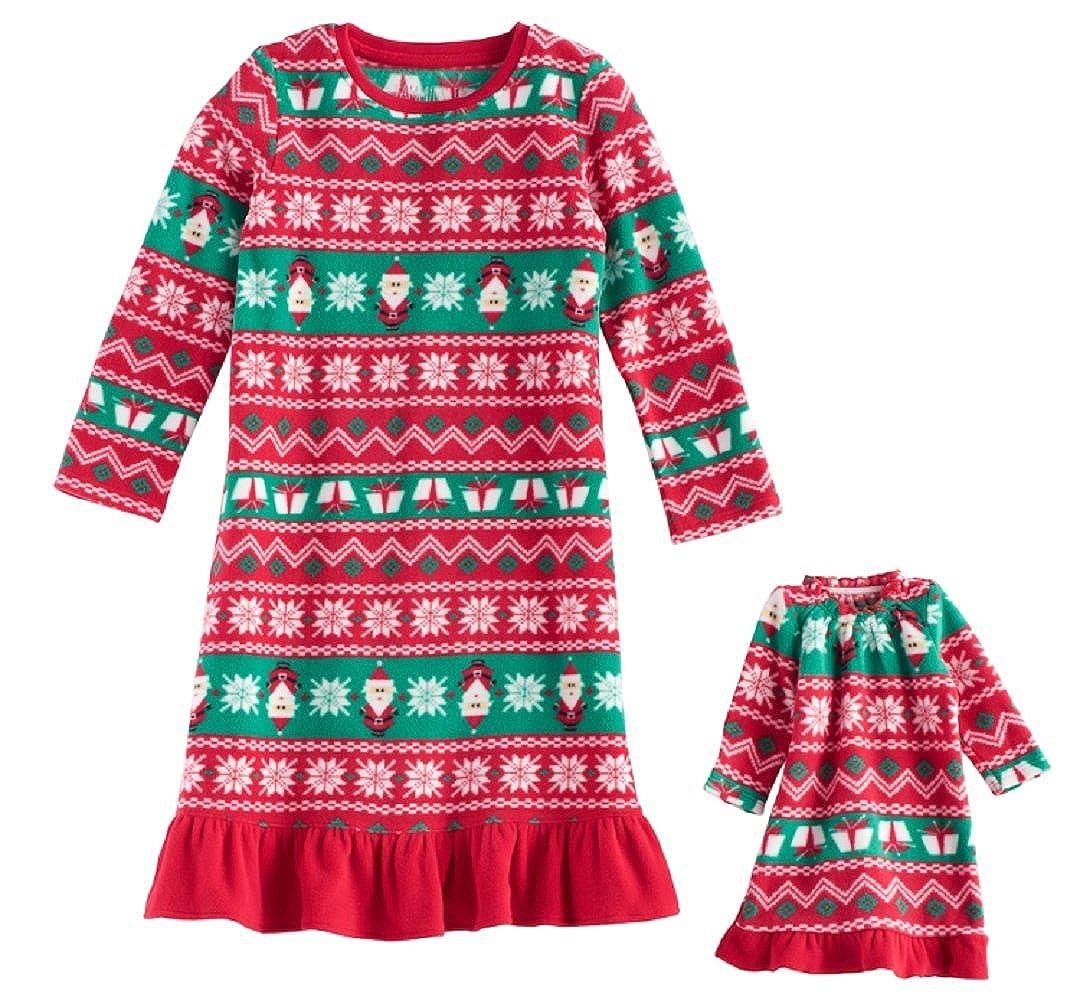 Jammies For Your Families Toddler Girl Santa Fairisle Microfleece Nightgown /& Doll Gown Pajama Set