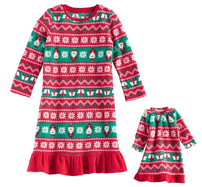afd2b2bc6a Jammies For Your Families Toddler Girl Santa Fairisle Microfleece Nightgown    Doll Gown Pajama Set (