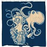 Octopus Shower Curtain Blue Kraken Nautical Bathroom Decor Waterproof and Mildew Resistant 12 Hooks Included