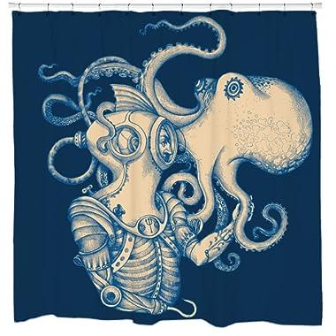 Sharp Shirter Octopus Shower Curtain Set Nautical Bathroom Decor Kraken and Scuba Diver Gold Tentacles Blue Polyester Fabric Hooks Included