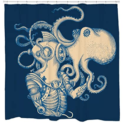 Amazon Sharp Shirter Octopus Shower Curtain Steampunk Nautical