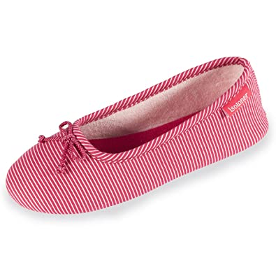 Chaussons ballerines femme rayures Isotoner 35/36 EU, Rouge