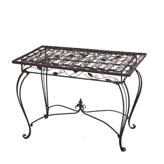Tavoli Da Giardino Vintage.Stile Retro Tavolo Da Giardino Giardino Rustico Metallo Marrone