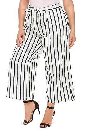 Zeagoo Women Plus Size Striped Loose Flowy Flare Wide Leg Palazzo