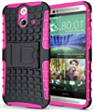 Heartly Flip Kick Stand Hard Dual Armor Hybrid Bumper Back Case Cover For HTC One E8 - Pink