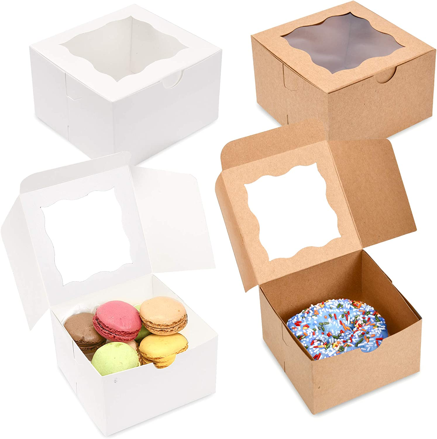 """Surf City Supplies Cake Boxes 4""""X4""""X2.5"""" 50-PACK- White Bakery Boxes with Window Easy to Assemble- Great for Cakes, Cupcakes, Donuts, Pies, Cookies, Pastries, Cheesecake, Candy, & Brownies"""