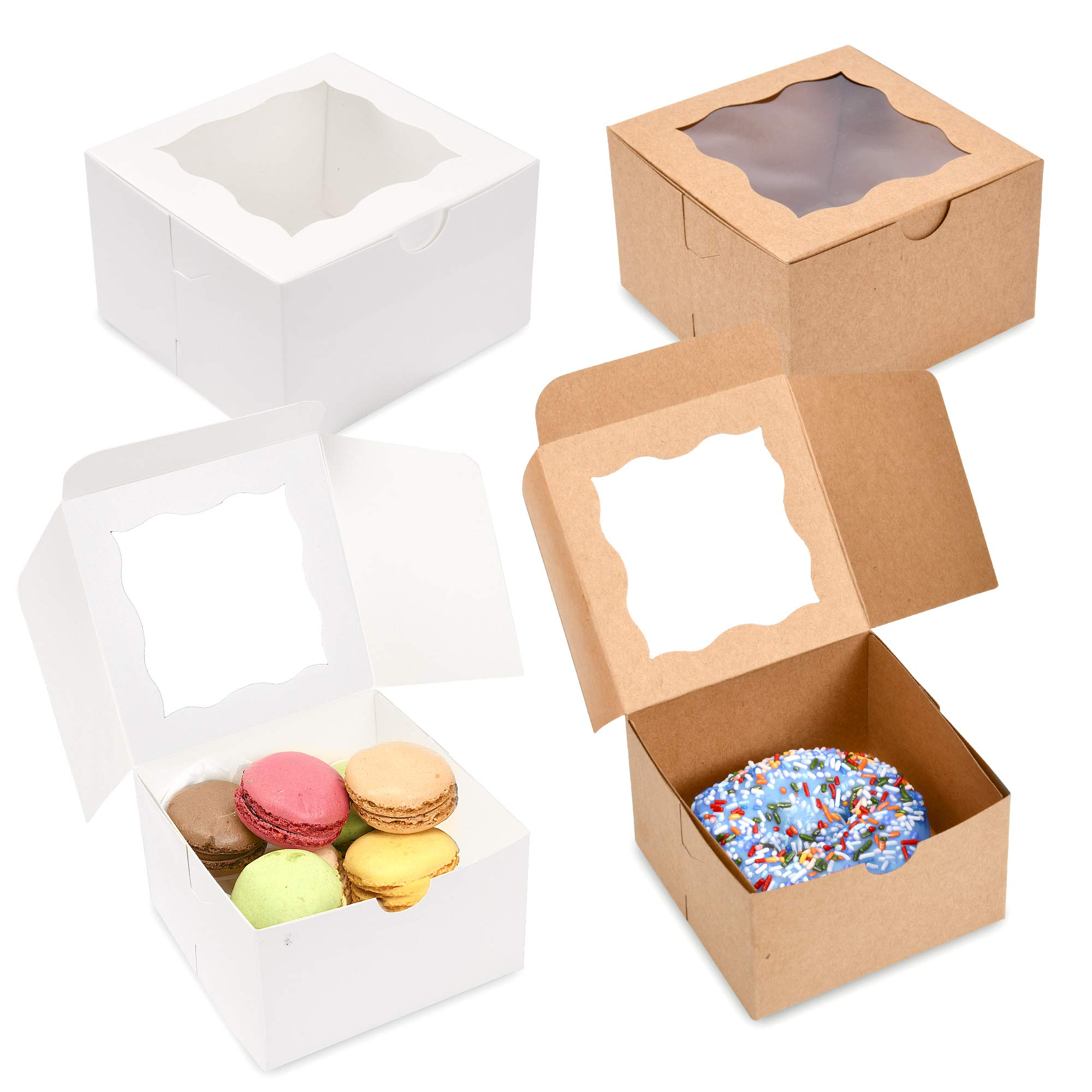 {Pack of 50} White Bakery Boxes with Window 4x4x2.5'' Cute Cardboard Gift Packaging Containers for Cookies, Cupcakes, Small Desserts, Pastry, Wedding Cake, Baby Showers, Donuts, Treats, Party Favors!