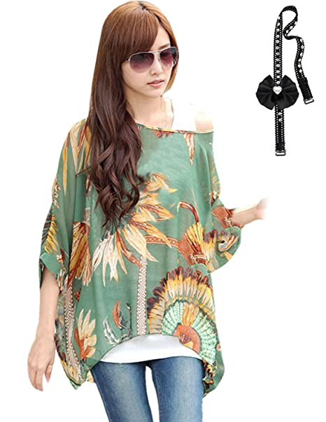 sitengle Mujeres Chiffon Bohemia de Verano Manga Corta Camisa Camiseta Camisetas Blusas Tops (talla única