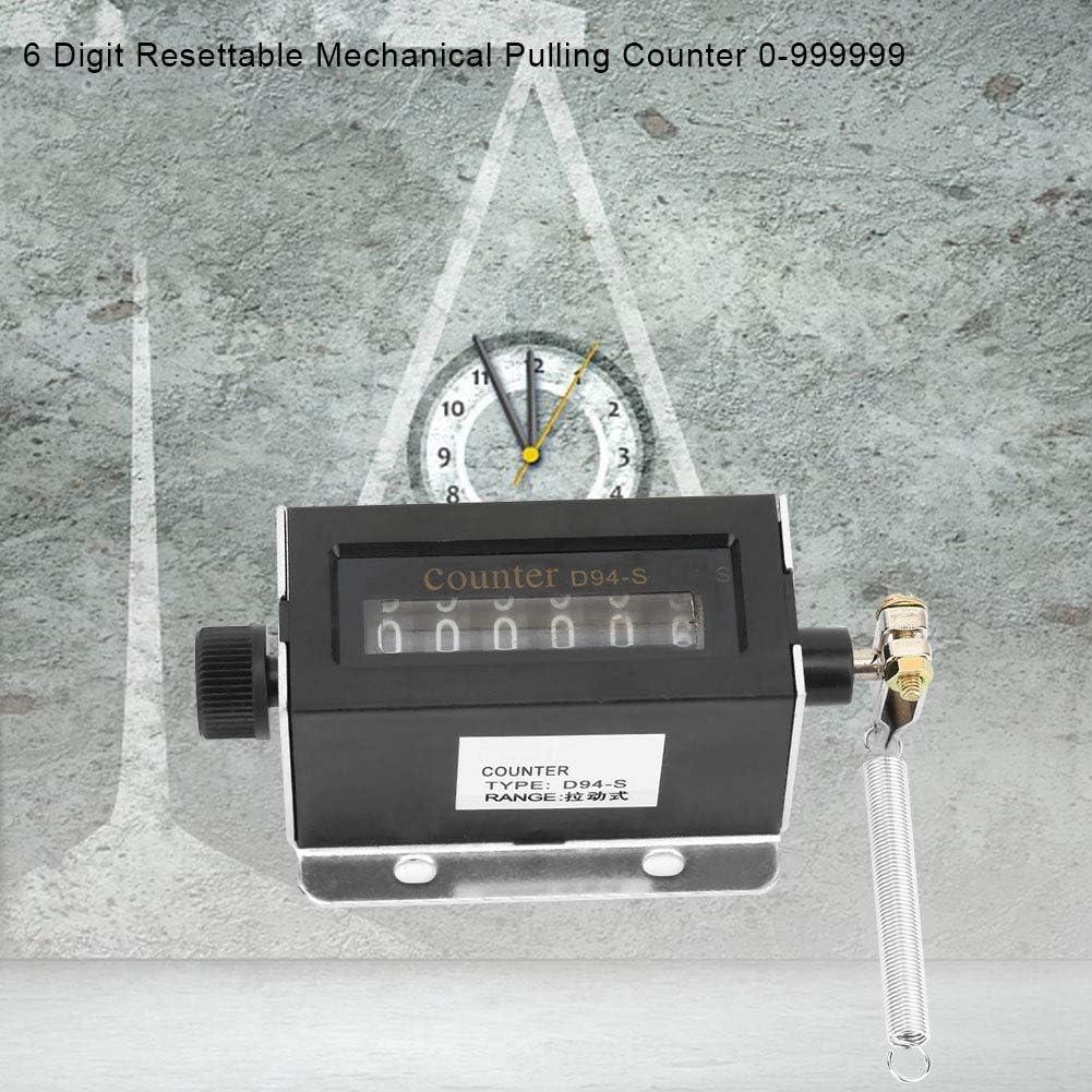 D94-S Contador de tracci/ón mec/ánica reiniciable de 6 d/ígitos Contador de longitud digital 0-999999 para registro de cantidad de maquinaria