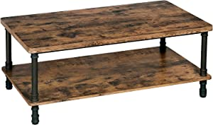VASAGLE ULCT62X Industrial Coffee Table, 43.3''L x 23.6''W x 17.7''H, Rustic Brown + Black