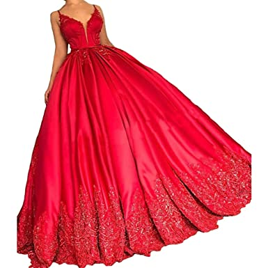 Yuxin Sexy Red Lace Ball Gown Prom Dresses V Neck Spaghetti Straps Beaded Long Evening Dress