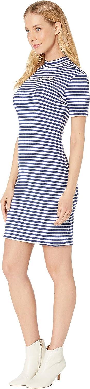 Mock Neck Striped Logo Dress with V-Back Detail bebe Womens Short Sleeve