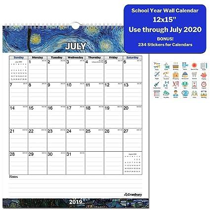 Wall Calendar 2019-2020 Academic Calendar (Impressions) 12x15 Stunning  Large Monthly Wall Calendar, Use Through July 2020, with Bonus Stickers,