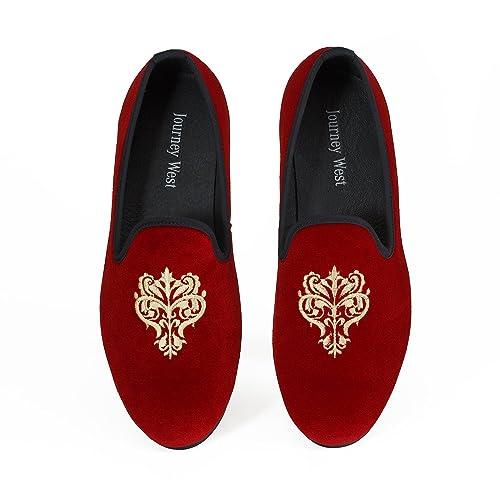 Los Hombres Zapatos Mocasines de Terciopelo Bordado Negro/Rojo/Azul: Amazon.es: Zapatos y complementos
