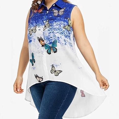 Diadia - Blusa de Cuello Grande con Estampado de Mariposas, sin Mangas: Amazon.es: Deportes y aire libre
