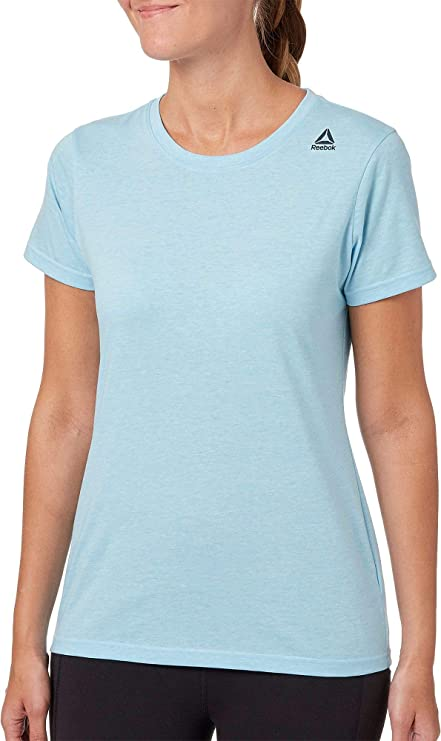 : Reebok Women's Heather Crewneck Jersey T Shirt