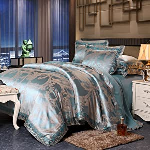 Nclon European Style Fabric Satin Silk Duvet Cover Set,Four Set of Duvet Cover [Northern Europe] Plain Quilt Cover Silk Double Luxury-C 2.0m(6.6inch) 220240cm
