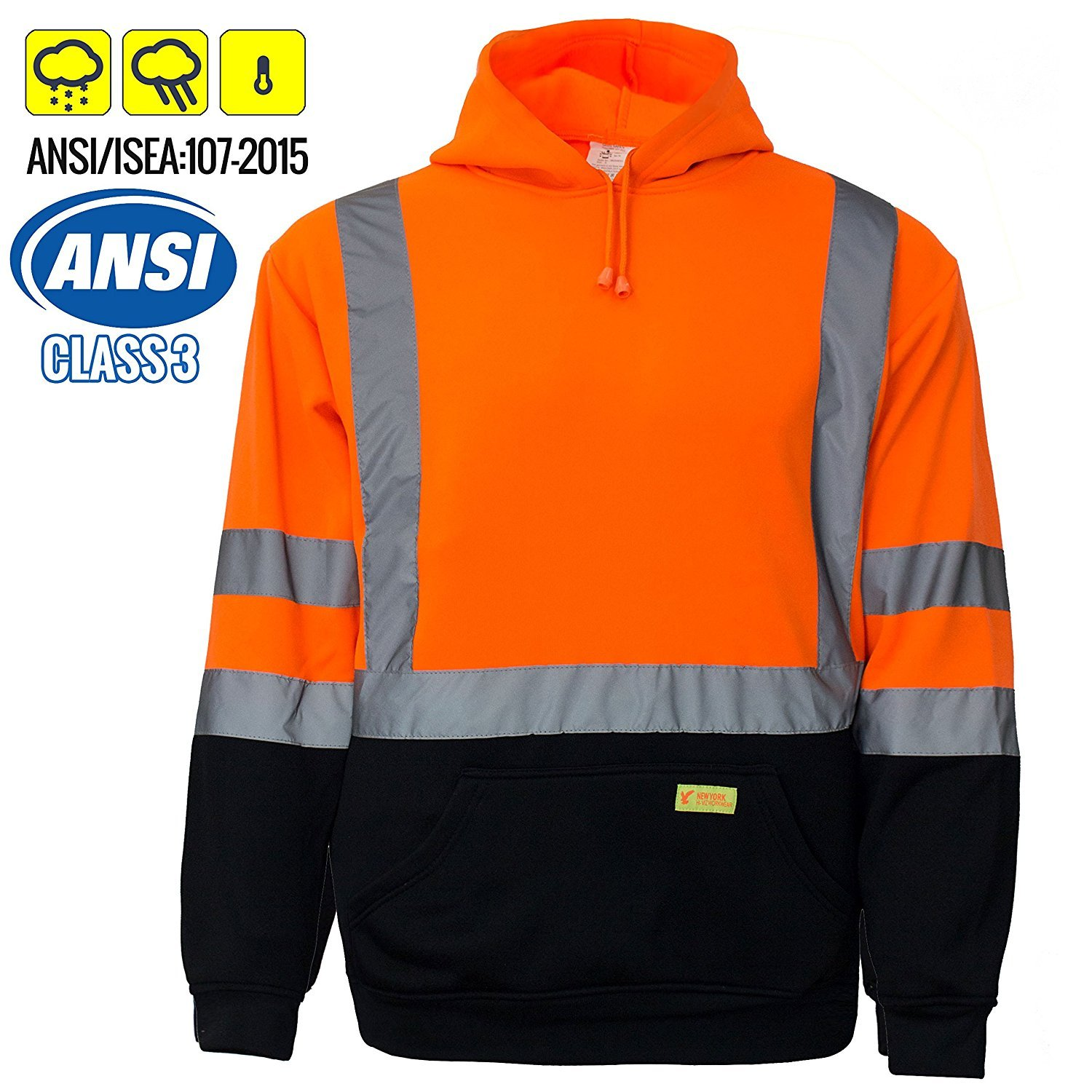 New York Hi-Viz Workwear H8311 Men's ANSI Class 3 High Visibility Class 3 Sweatshirt, Hooded Pullover, Knit Lining, Black Bottom (Extra Large, Orange)