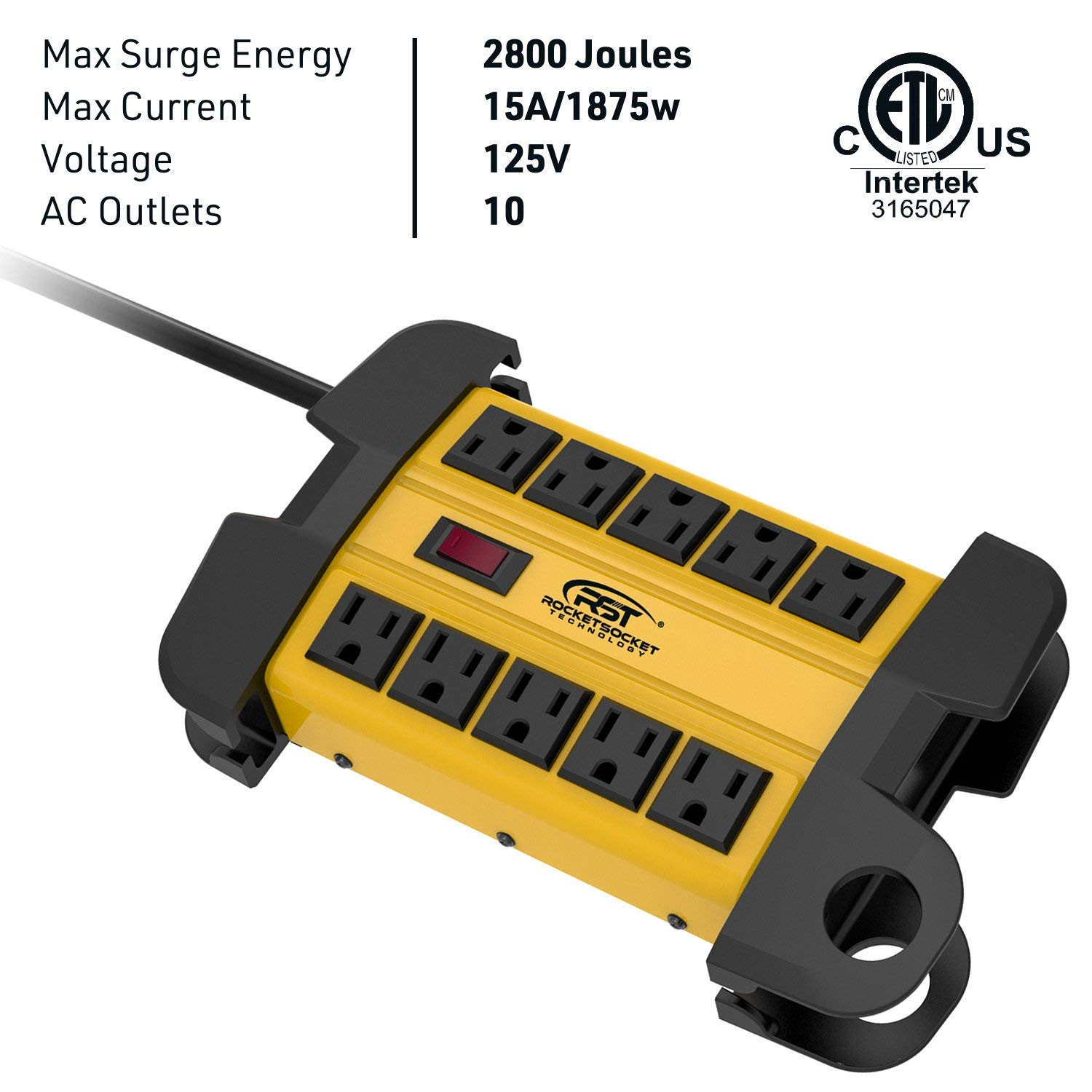 CRST 10-Outlets Heavy Duty Power Strip Metal Surge Protector with 15 Amps, 15-Foot Power Cord 2800 Joules for Garden, Kitchen, Office, School, ETL Listed 3165047 10-Outlet, Yellow