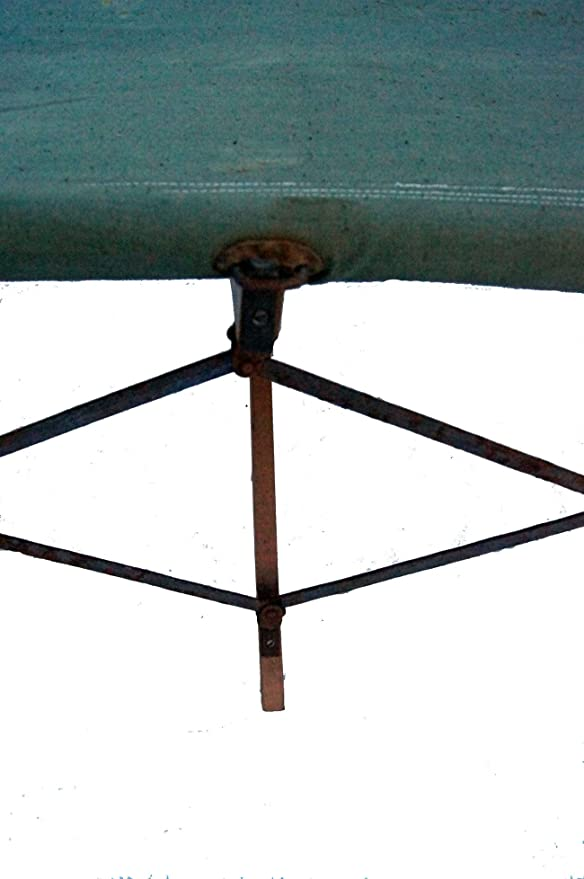 Unbekannt Armee Faltbett Feldbett Oliv mit Holzgestell gebraucht