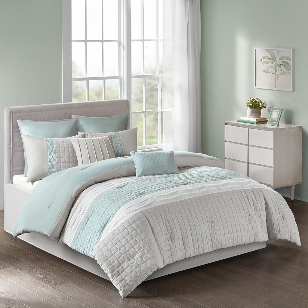 9 DESIGN Tinsley 9 Piece Comforter Set, Cal King, Seafoam/Grey