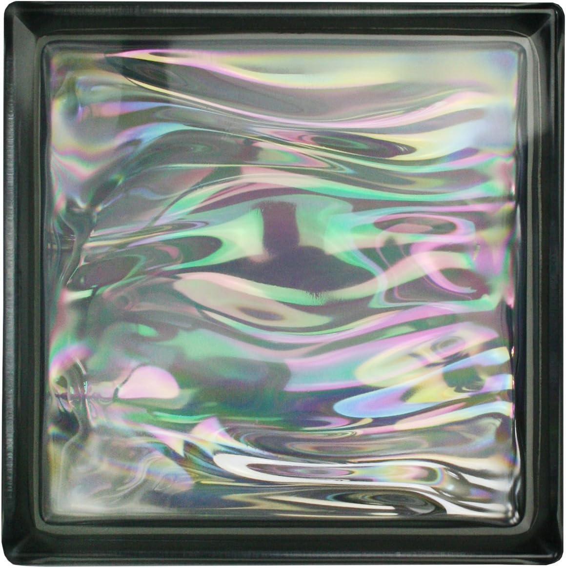 6 pi/èces BM briques de verre AQUA nacre anthracite 19x19x8 cm