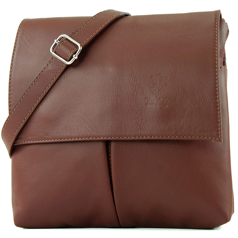 Italiensk väska axelväska messenger satchel damväska äkta läder T63 Rödbrun