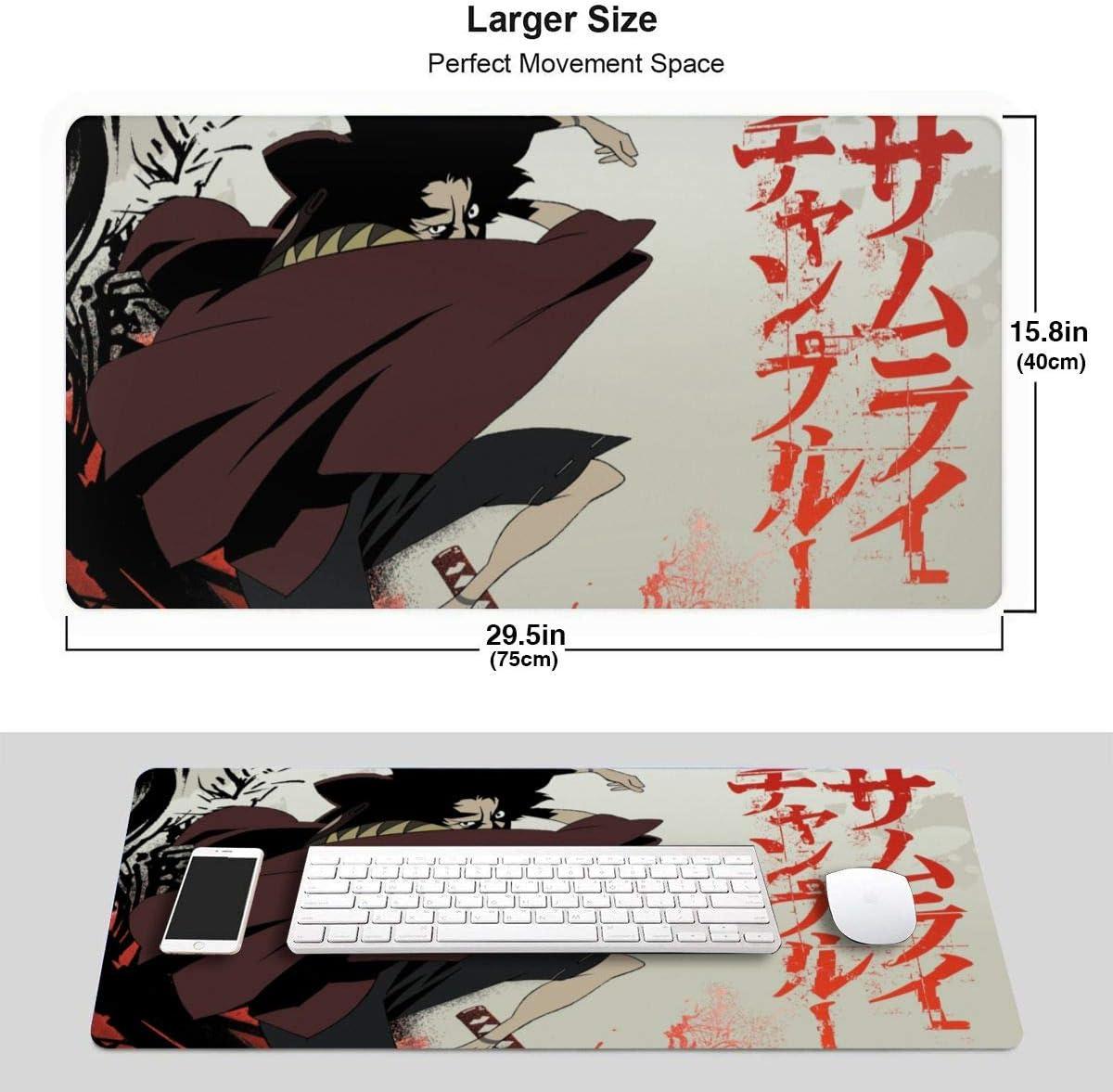 Samurai Champloo Mouse Pad 15.8x29.5 in Multipurpose Comfortable Waterproof Mousepad Desk Mat for Gamer Office Home 40x75cm