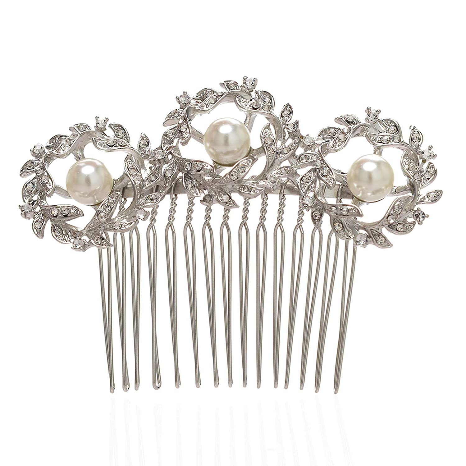SWEETV Ivory Flower Wedding Hair Comb Pearl Clip Bridal Headpieces Women Hair Accessories for Brides SVJFS1671C12