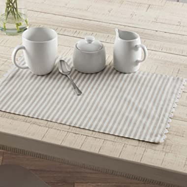 Piper Classics Farmhouse Ticking Taupe Placemats, Set of 4, 12x18