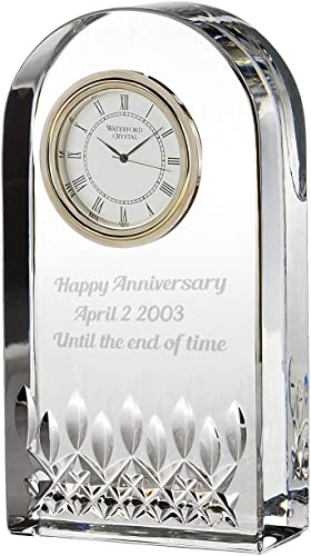 Waterford Lismore Essence Crystal Desk Clock Personalized