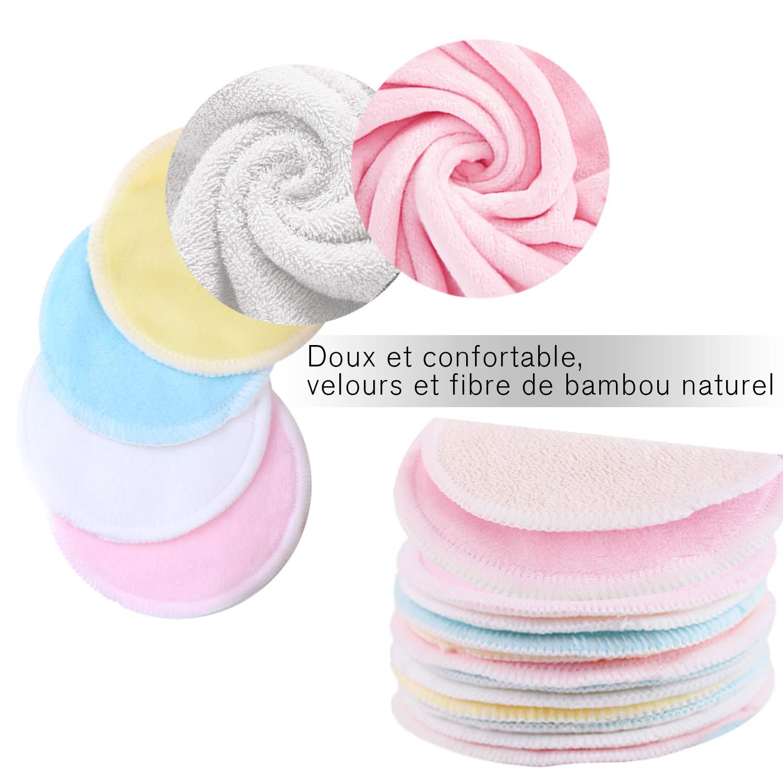 丨Lavable et r/éutilisable丨Bo/îte demballage biod/égradable Tampons D/émaquillants fibre de bambou丨 Devant et dos + 2 Sac de lavage丨Fibre de bambou 16pcs velours