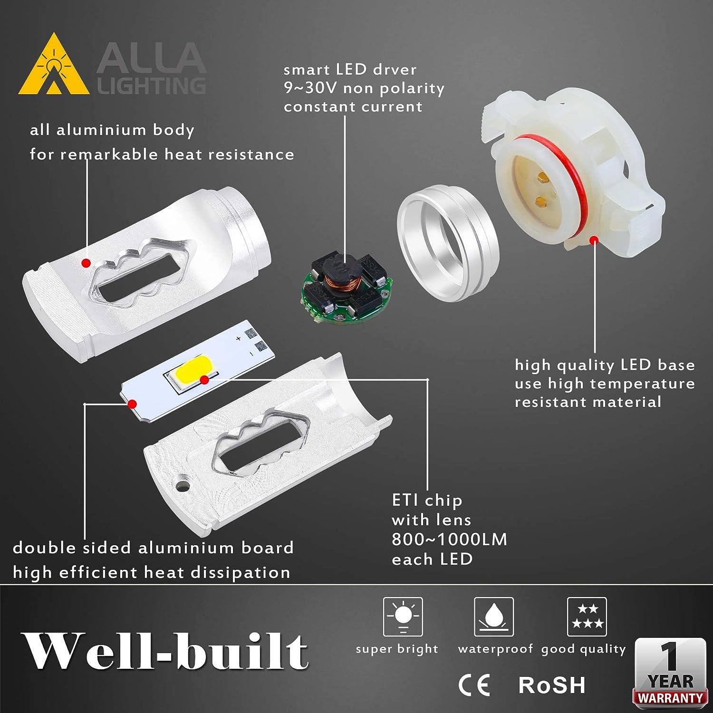 Alla Lighting 3800lm Xtreme Super Bright T25 3156 3157 Red LED Bulbs High Power ETI 56-SMD LED 3157 Bulbs 3057 3457 4157 4057 LED Turn Signal Brake Stop Tail Light Set of 2