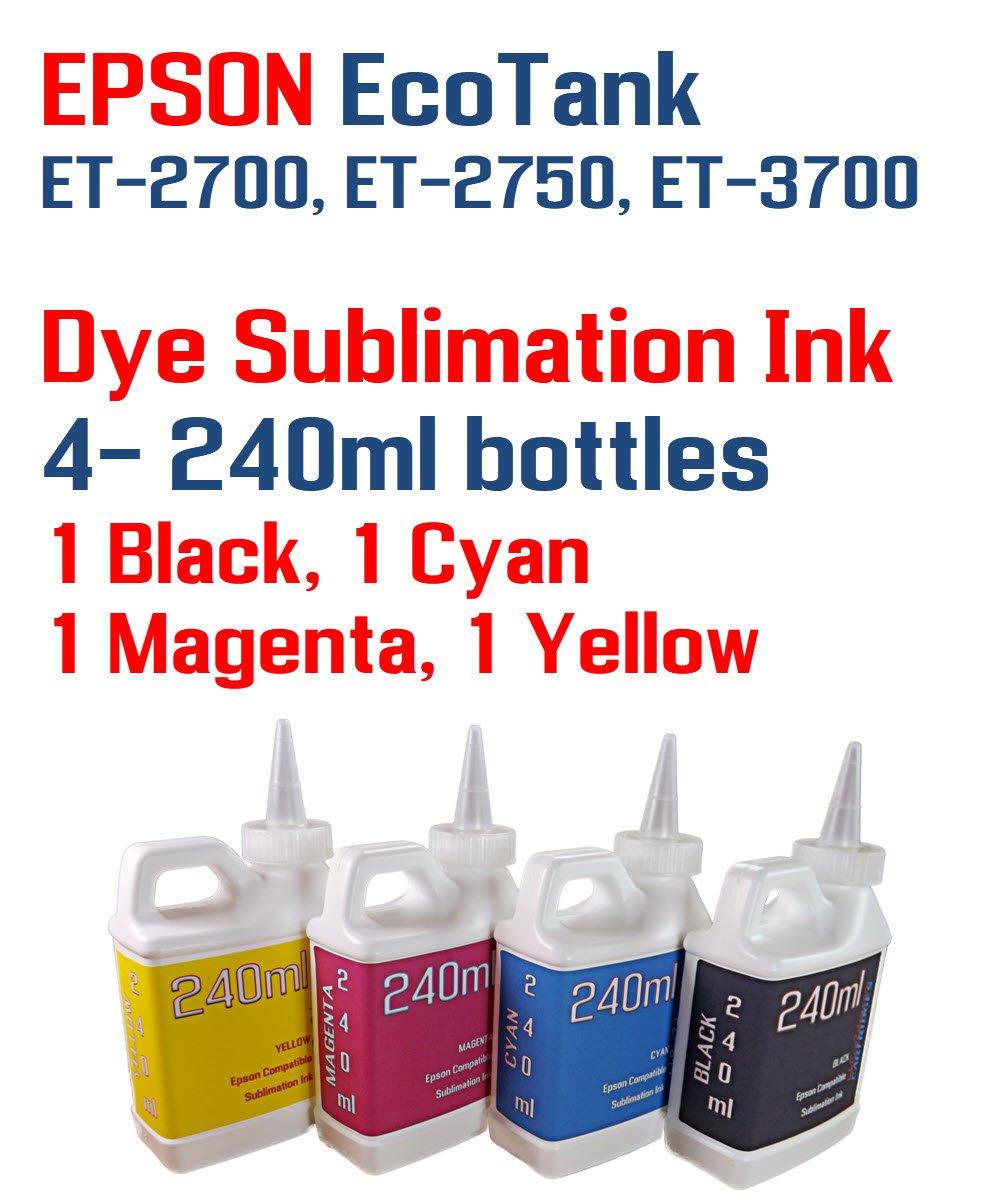 Dye Sublimation Ink 4 Multi Color 240ml bottles - EcoTank ET-2700, ET-2750, ET-3700