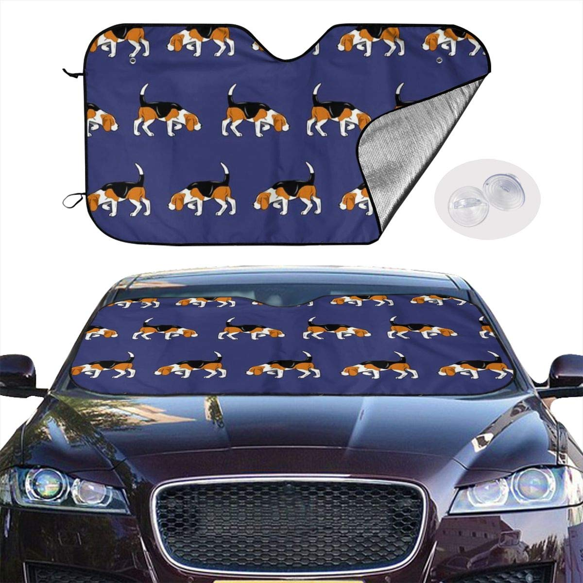 HE - Fashion Front Car Sunshade Windshield-Standard Sun Shade Keeps Vehicle Cool-UV Ray Protector Sunshade-Easy to Use Sun Shade - Beagle Dog (51.2 x 27.5 Inches) by HE - Fashion