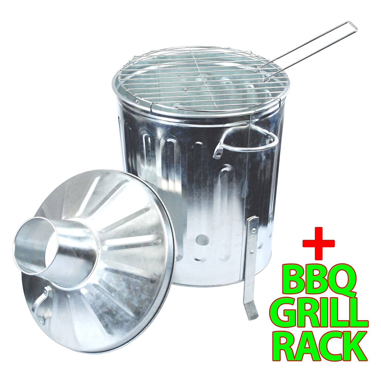 CrazyGadget® 15L 15 Litre Galvanised Metal Incinerator Mini Garden Fire Bin BBQ & Grill Mesh Rack for Cooking & Burning Wood, Leaves, Paper etc