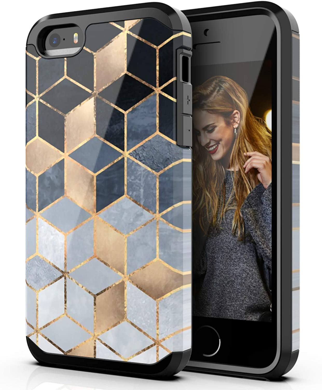 Hasaky Case for Apple iPhone SE Case,iPhone 5 Case,iPhone 5s Case,Dual Layer Hybrid Bumper Rubber Cover Marble Design Soft TPU & Hard Back Protective Shockproof Case for Apple iPhone 5/5s/SE - Black.