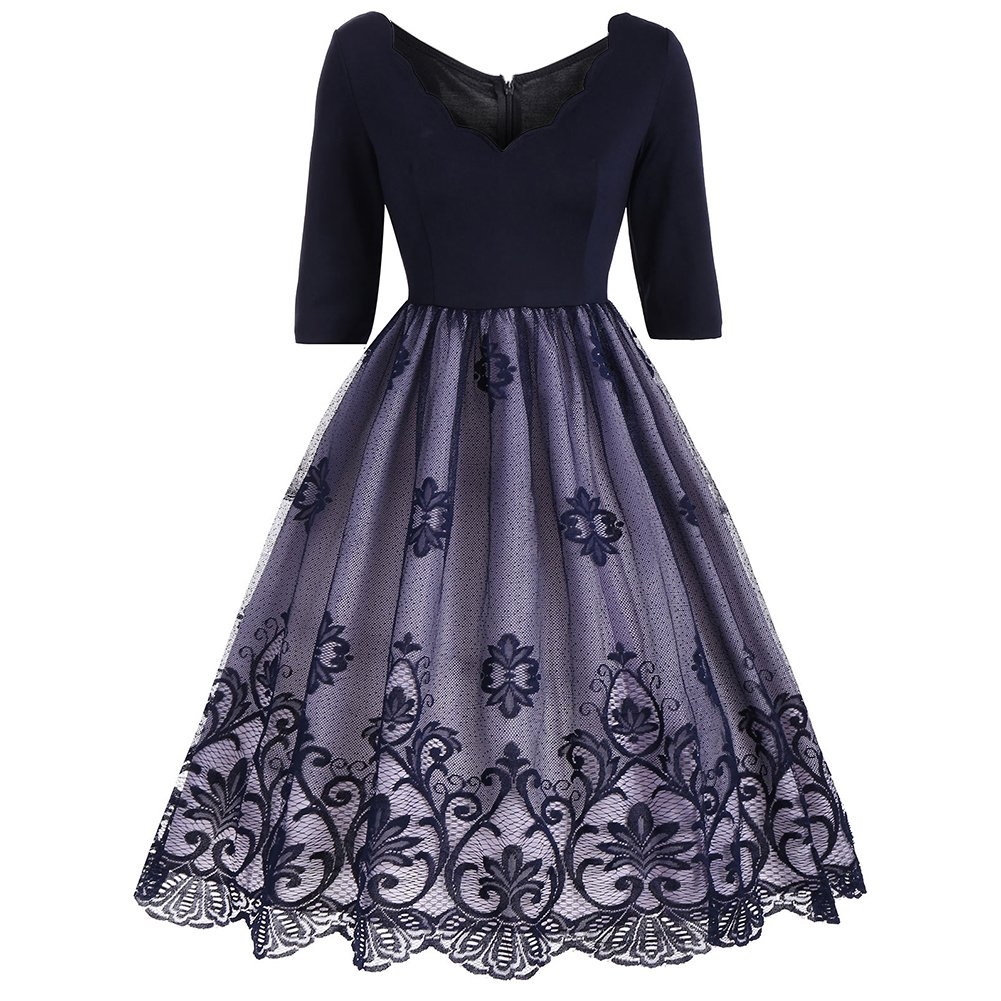 iShine Rockabilly Kleid Damen 1/2 Arm V-Ausschnitt Kleid Swing Faltenrock Knielang Festliches Partykleid Cocktailkleid