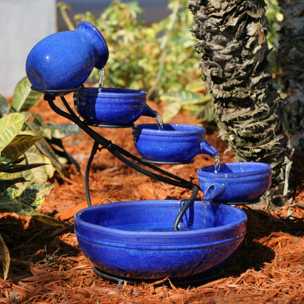 Smart Solar Blue Ceramic Cascade Outdoor Bird Bath Fountain by Smart Solar
