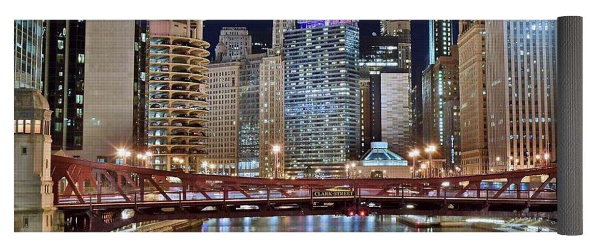 Pixels Yoga Mat w/ Bag ''Chicago Full City View'' by Pixels