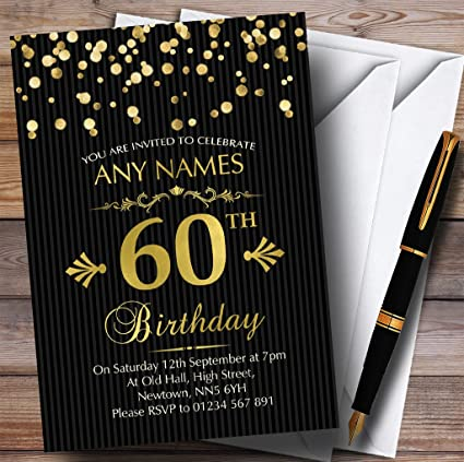 Gold Confetti Black Striped 60th Personalized Birthday Party Invitations