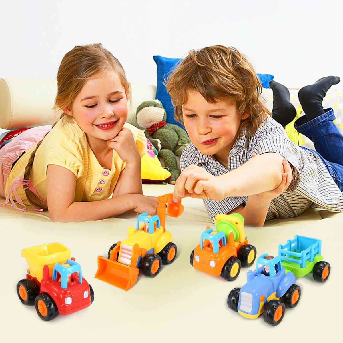 FUNTOK Jouet Voiture Push et Go Petite Voiture Enfant 4 V/éhicules /à friction Pour Gar/çons Filles