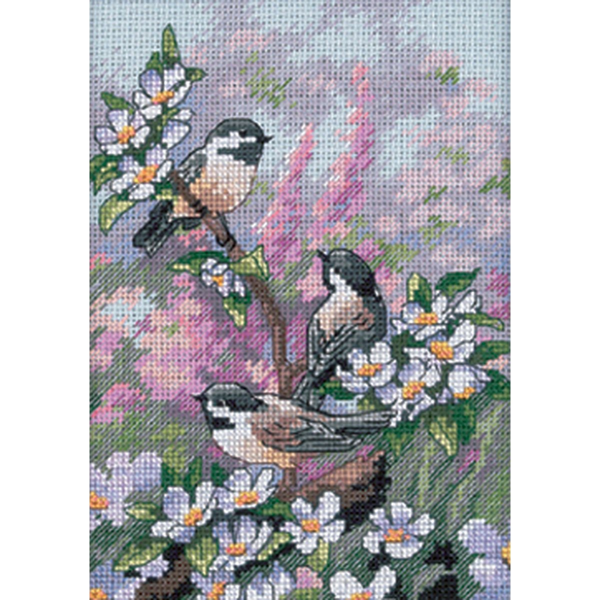 13 x 18cm Chickadees In Spring Counted Cross Stitch Kit Dimensions D06884