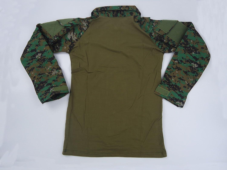Magcomsen Taktisches Langarm-Shirt mit enger Passform Milit/är-Stil f/ür den Au/ßenbereich mit Rei/ßverschluss S Digitaler Dschungel